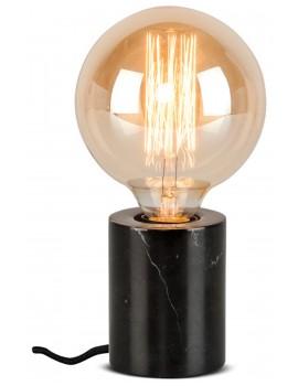 Lampada cilindrica da tavolo in marmo nero