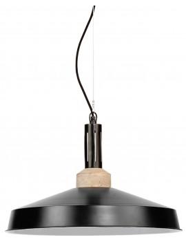 Lampada a sospensione in ferro e legno color nero opaco