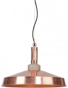 Lampada a sospensione in ferro e legno color rame