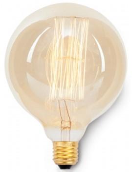 lampadina globo vintage con filamento in carbonio - E27 / 40W - Diametro 8 cm x h12 cm - 3000 ore