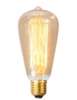 lampadina a goccia vintage con filamento in carbonio - E27 / 40W - Diametro 6,5 cm x h14 cm - 3000 ore