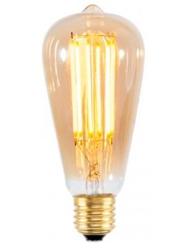 LED - lampadina LED a goccia vintage con filamento dorato - E27 / 4W - Diametro 6,5 cm x h 14,6 cm - 25000 ore