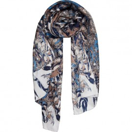 SCIARPA IN TWILL DI SETA STAMPA FALL SYMMETRY BLU