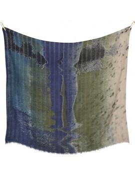 Sciarpa BLU E VERDE di lana con paesaggio stampata a mano - Kissed By The Rain