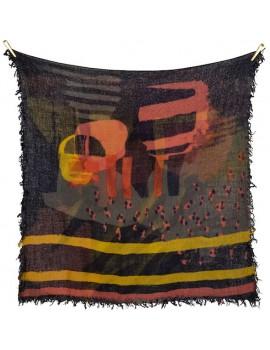 Sciarpa nera di lana grossa stampata a mano con disegno Handmarks - Handmarks