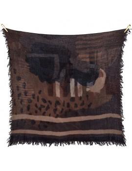 Sciarpa grigia di lana grossa stampata a mano con disegno Handmarks - Handmarks