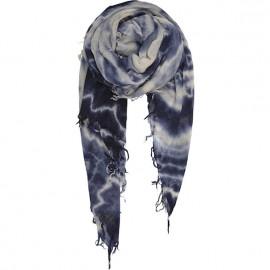 Sciarpa di pura Lana pesante con effetto sfumato blu - Milky way