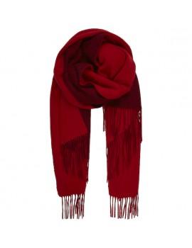 Sciarpa Bicolore di Lana d'Agnello con frange rosso e rosso vino - Two Faces
