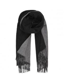 Sciarpa Bicolore di Lana d'Agnello con frange nero e grigio - Two Faces