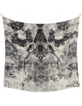 Sciarpa di Lana Fine con stampa Floreale Bianca e Nera - Funky Lace