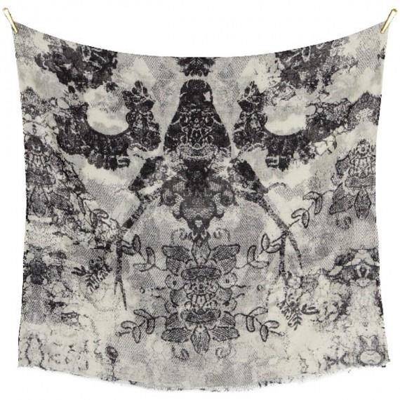 Sciarpa di Lana Fine con stampa Floreale - Funky Lace