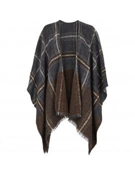 Poncho di lana e modal con stampa a quadri Nero e Sabbia - Made in Italy - Check It Out
