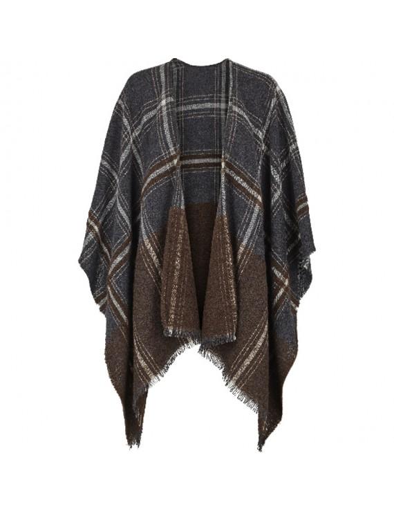Poncho di lana e modal con stampa a quadri Made in Italy - Check It Out