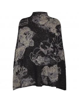 Poncho di lana Kid Mohair e lana con stampa Floreale In Nero - Flower Me Softly Poncho