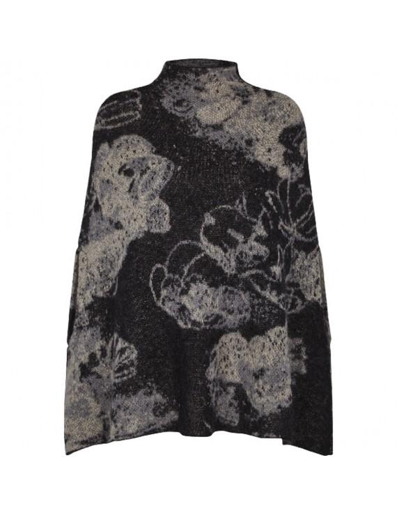 Poncho di lana Kid Mohair e lana con stampa Floreale - Flower Me Softly Poncho
