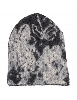 Cappello di lana Kid Mohair e lana con stampa Floreale In Nero - Flower Me Softly Hood