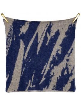Sciarpa di lana Kid Mohair e lana con stampa Floreale In Blu - Soft Touch