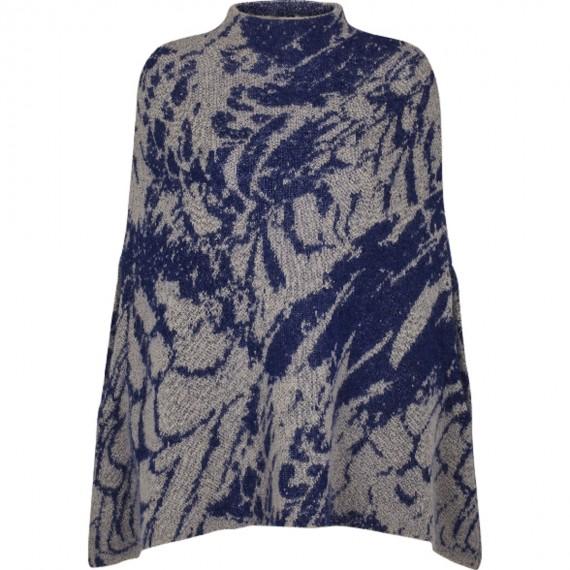 Poncho di lana Kid Mohair e lana con stampa Floreale - Soft Touch Poncho