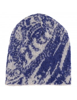 Cappello di lana Kid Mohair e lana con stampa Floreale in Blu - Soft Touch Hood
