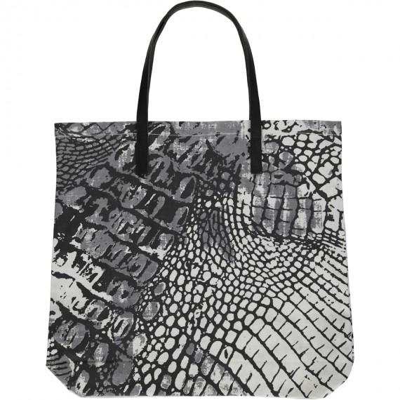 Shopper di Cotone Canvas Stampata a mano con disegno Rettile - Reptile Shopper