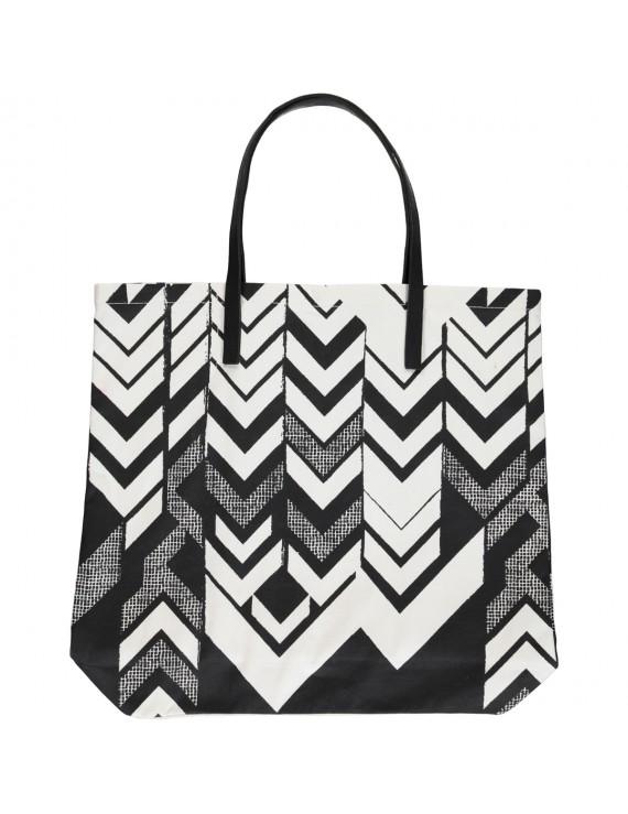 Shopper di Cotone Canvas Stampata a mano con disegno geometrico - Zig Zag Shopper