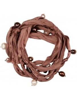 Bracciale in seta e perle di fiume - Rosa Antico - Raw Silk Bracelet