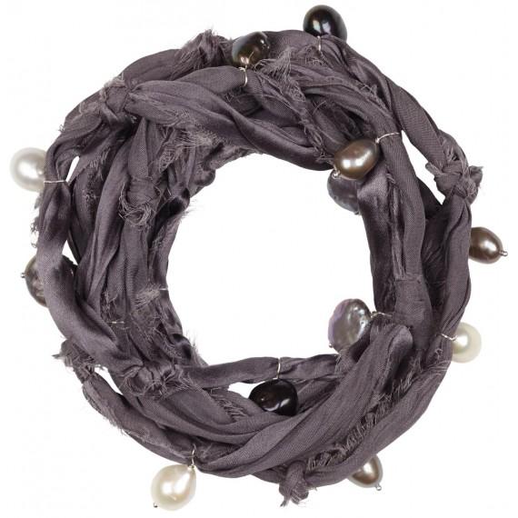Bracciale in seta e perle di fiume - Raw Silk Bracelet
