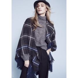 Poncho di lana e modal con stampa a quadri Made in Italy - Check It Out
