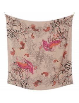 Sciarpa di lana con disegno Japan stampata a mano - Japan Blossom Pink