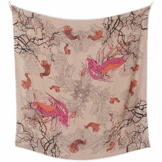 Sciarpa di lana con disegno Japan stampata a mano - Japan Blossom