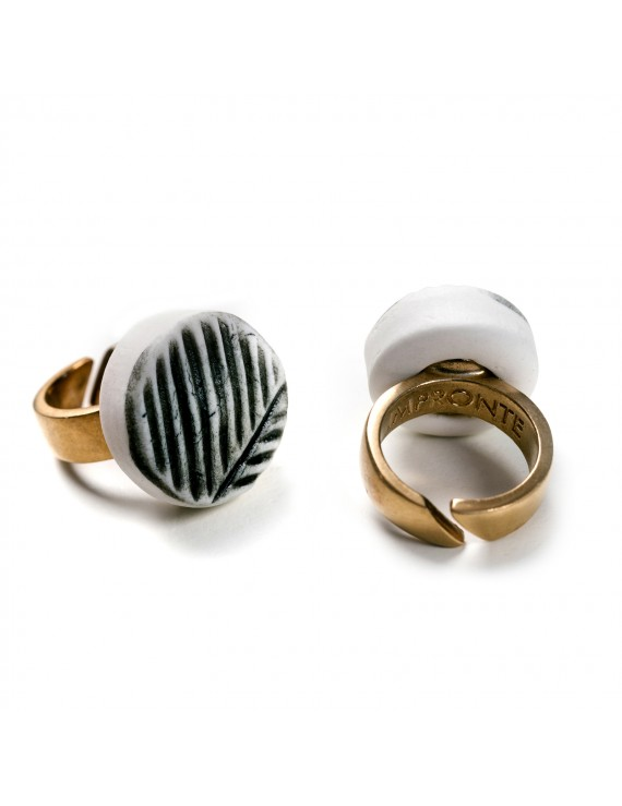 Anello in Porcellana artigianale - Made in Italy - Impronte
