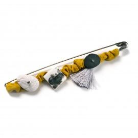 Spilla con elementi in Porcellana e maglina - artigianale - Made in Italy - Jersey Brooch
