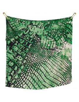 Sciarpa in Twill di Seta, Motivo Rettile. Color Verde, Marrone e Nero
