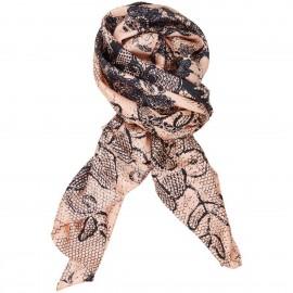 Sciarpa di seta Twill con motivo floreale stampata a mano - Funky Lace